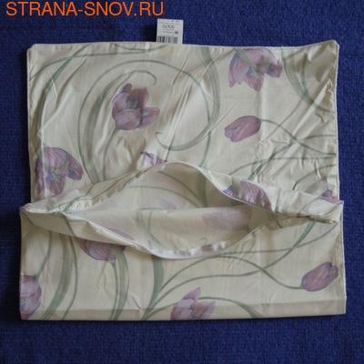 Наперник на подушку хлопок тик 50х70 кремовый Тюльпаны (фото)