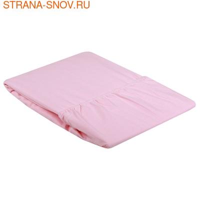 Простыня на резинке Сатин однотонный 90х200х25 розовая