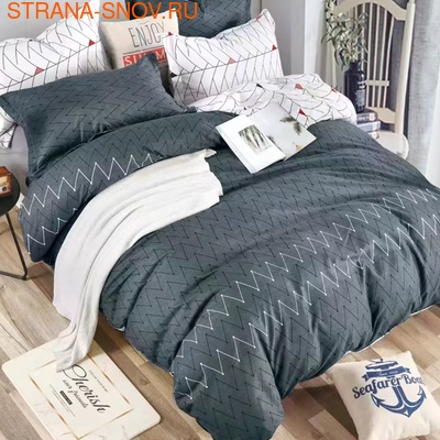 TJ06-33 Cristelle Blue marine постельное белье жаккард кружево евро (фото)